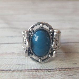 Silver and blue stretch ring by Paparazzi